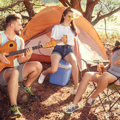 Family camping and having fun